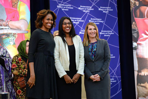 With Roshika Deo are First Lady Michelle Obama and Deputy Secretary of State Heather Higginbottom.
